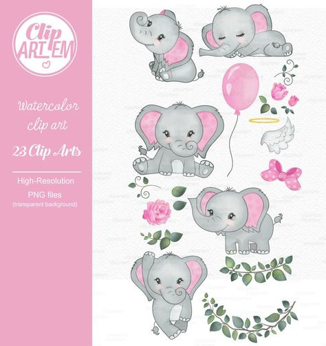 Elephant girl clip art, watercolor. Watercolor Baby Elephant.