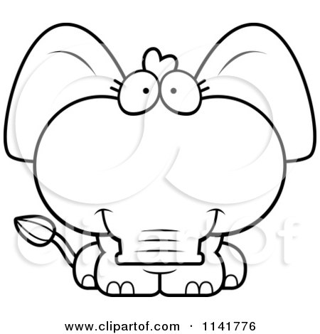 Cartoon Clipart Of A Black And White Cute Baby Elephant.
