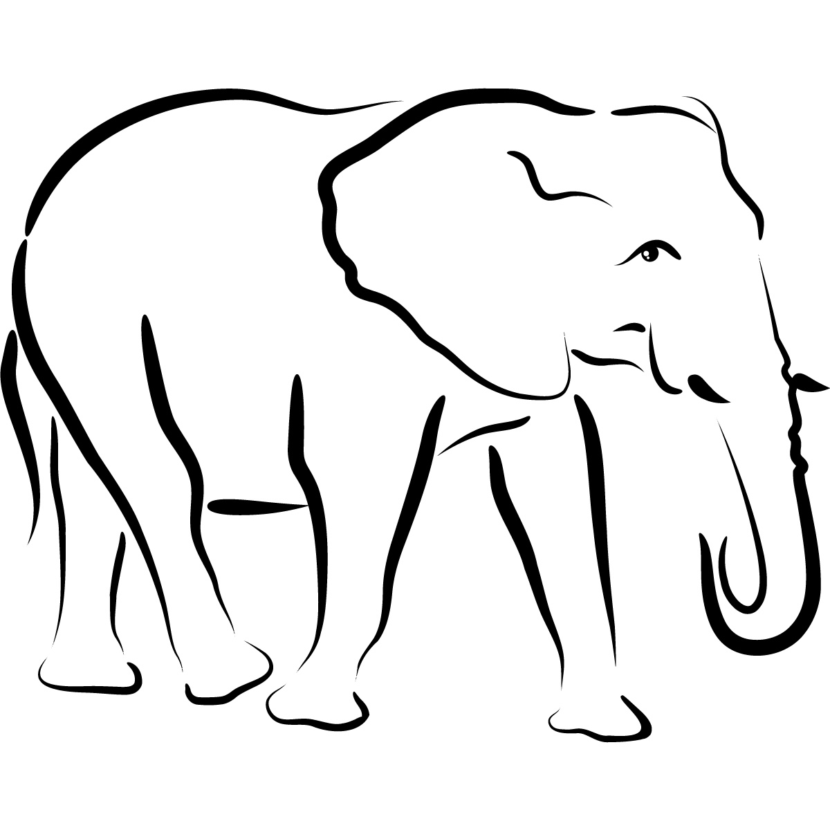 Baby Elephant Outline.