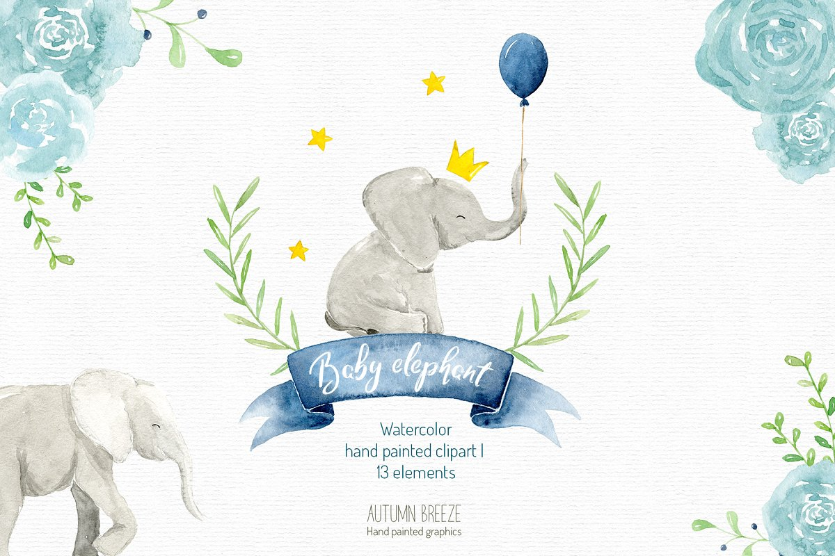 watercolor baby elephant clipart.