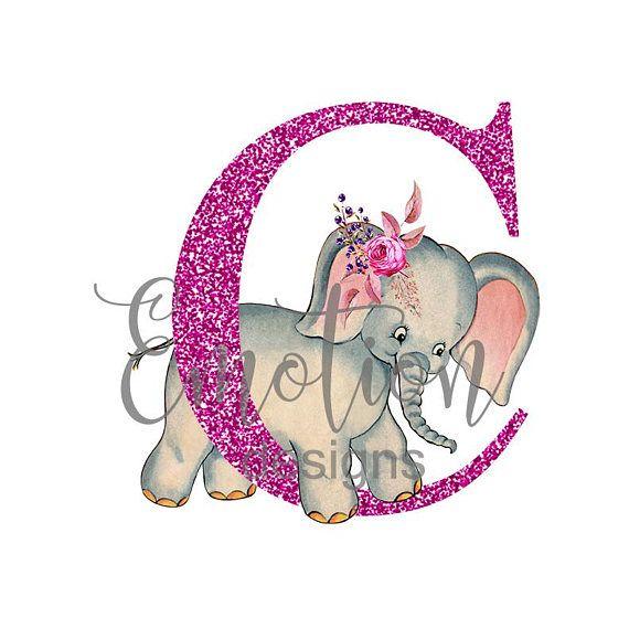 Pink Glitter Monogram Clip Art, Baby Elephant, instant.
