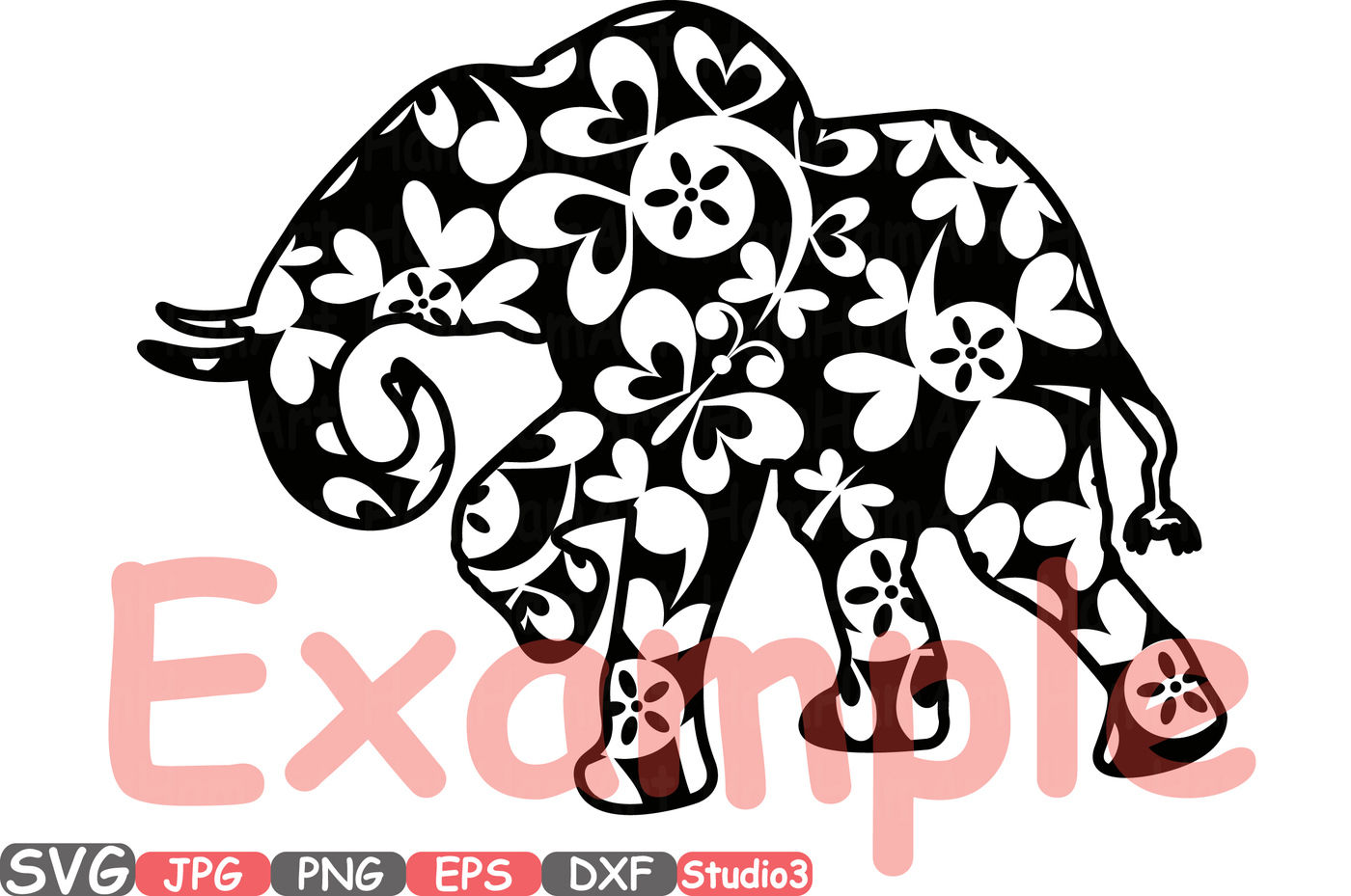 Elephant Safari Mascot Flower Monogram Cutting Files SVG.