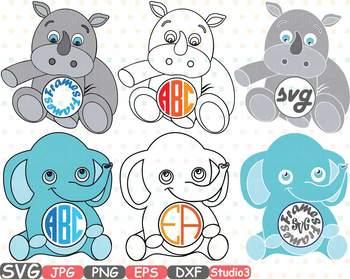 Elephant Rhino Circle Outline Monogram clipart Safari Baby Animals frame  753S.