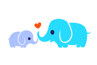 Baby Elephant with Mother Elephant SVG Cut Files.