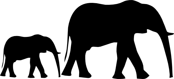 Mom & Baby Elephant Silhouette Clip Art at Clker.com.