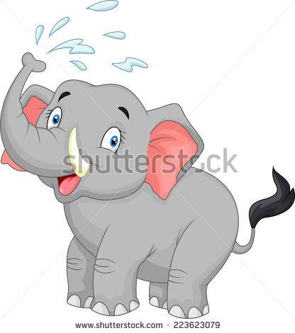 Cartoon elephant spraying water.