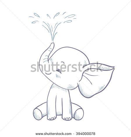 Sketch Cartoon Elephant Spraying Water. Doodle Illustration.