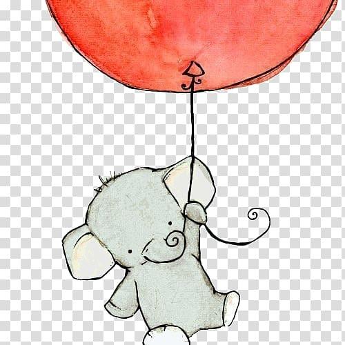Gray elephant illustration, Baby Elephants Drawing Cuteness.