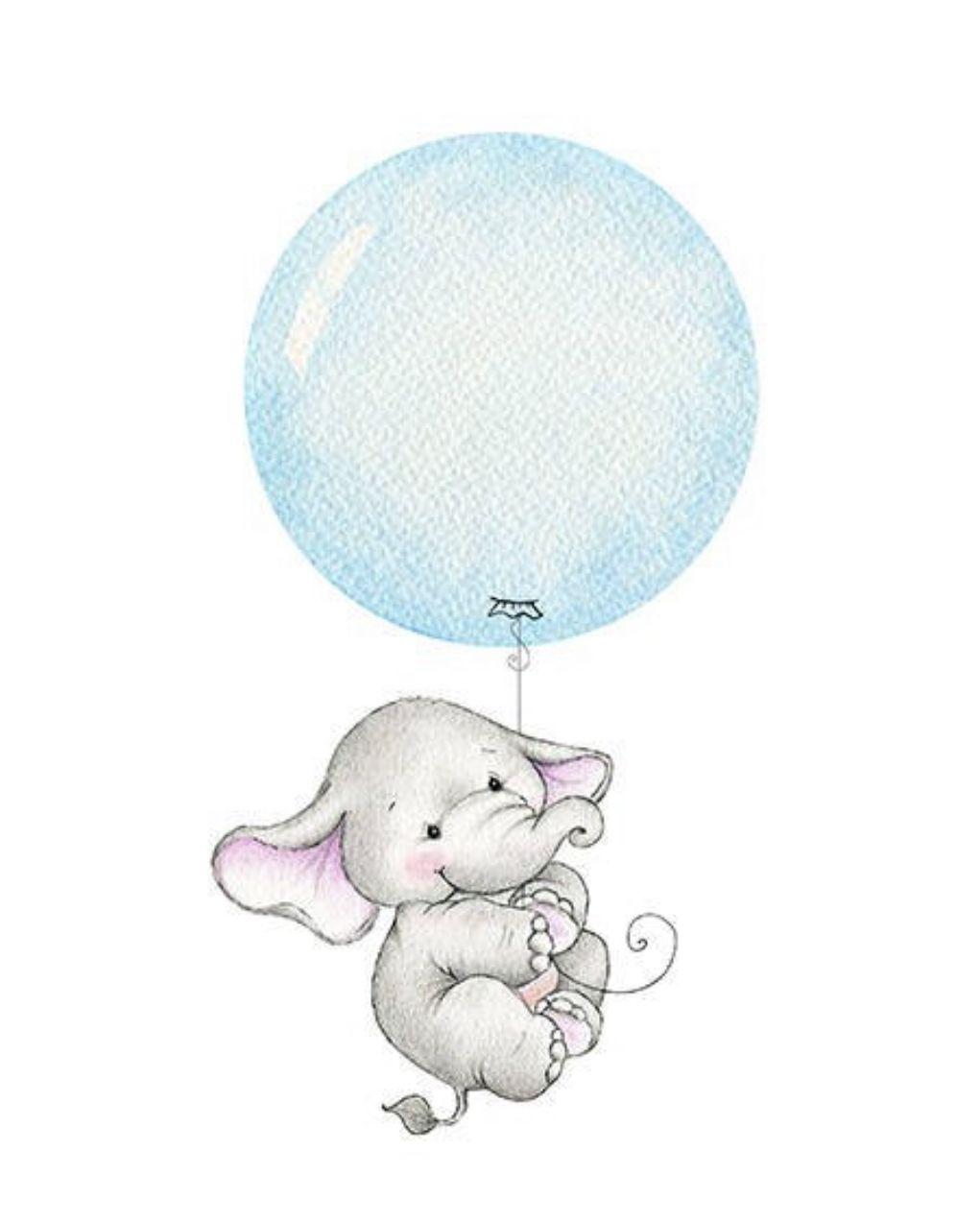 Balloon clipart baby elephant, Balloon baby elephant.