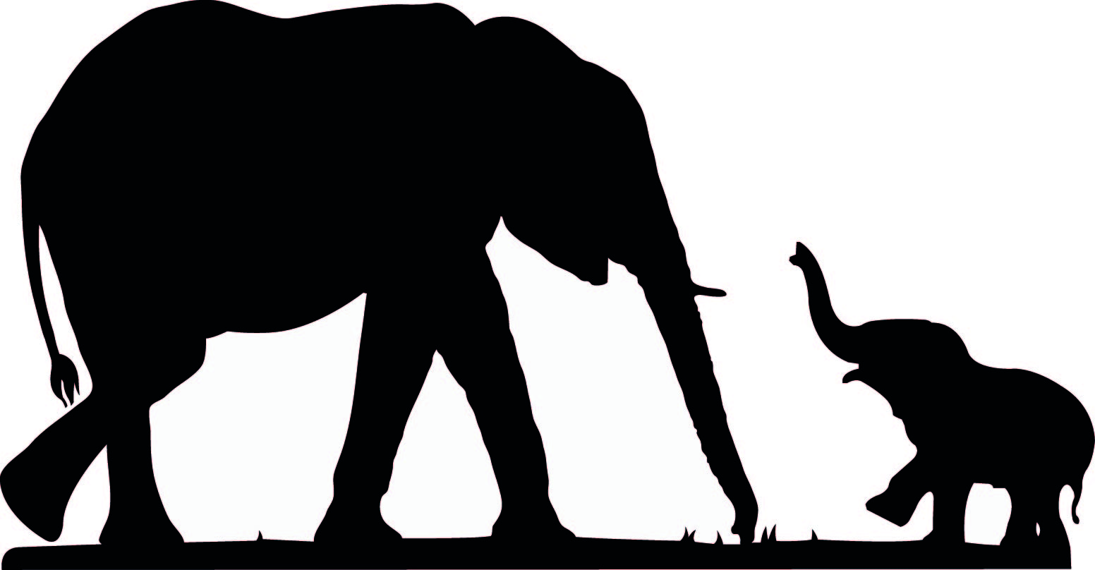 Free Sitting Baby Elephant Silhouette, Download Free Clip.