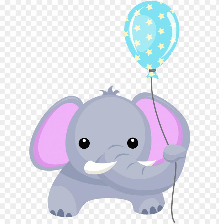birthday elephant with balloon clipart.