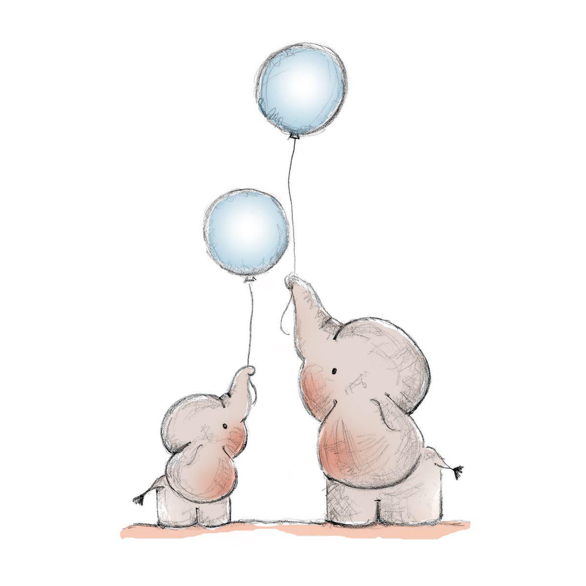 Mummy & Baby Elephant Flying Balloons.