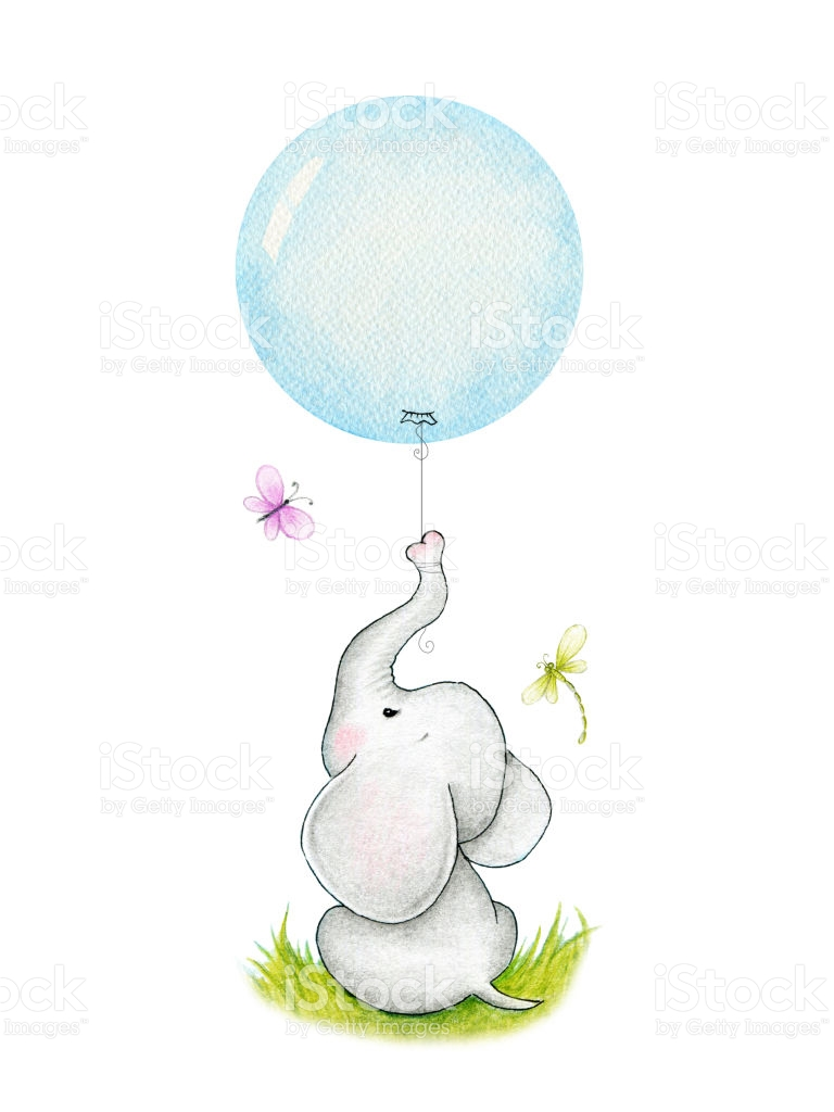 Baby Elephant Clipart With Balloon.