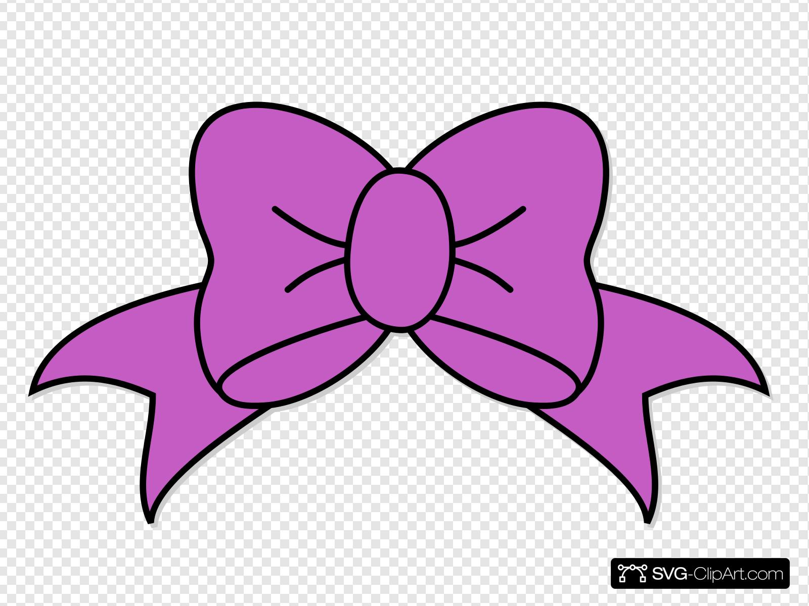 Purple Hair Bow Clip art, Icon and SVG.