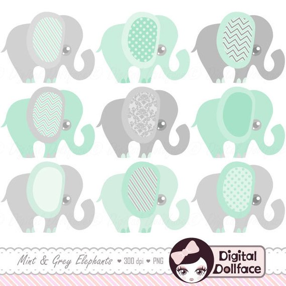 Mint Green Elephant Clipart, Baby Shower Mint and Grey.