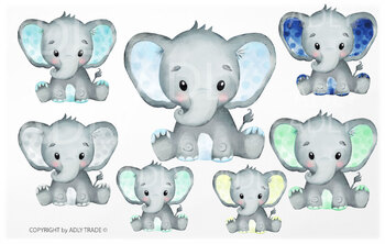 Elephant watercolor by clipart in so many different colors.