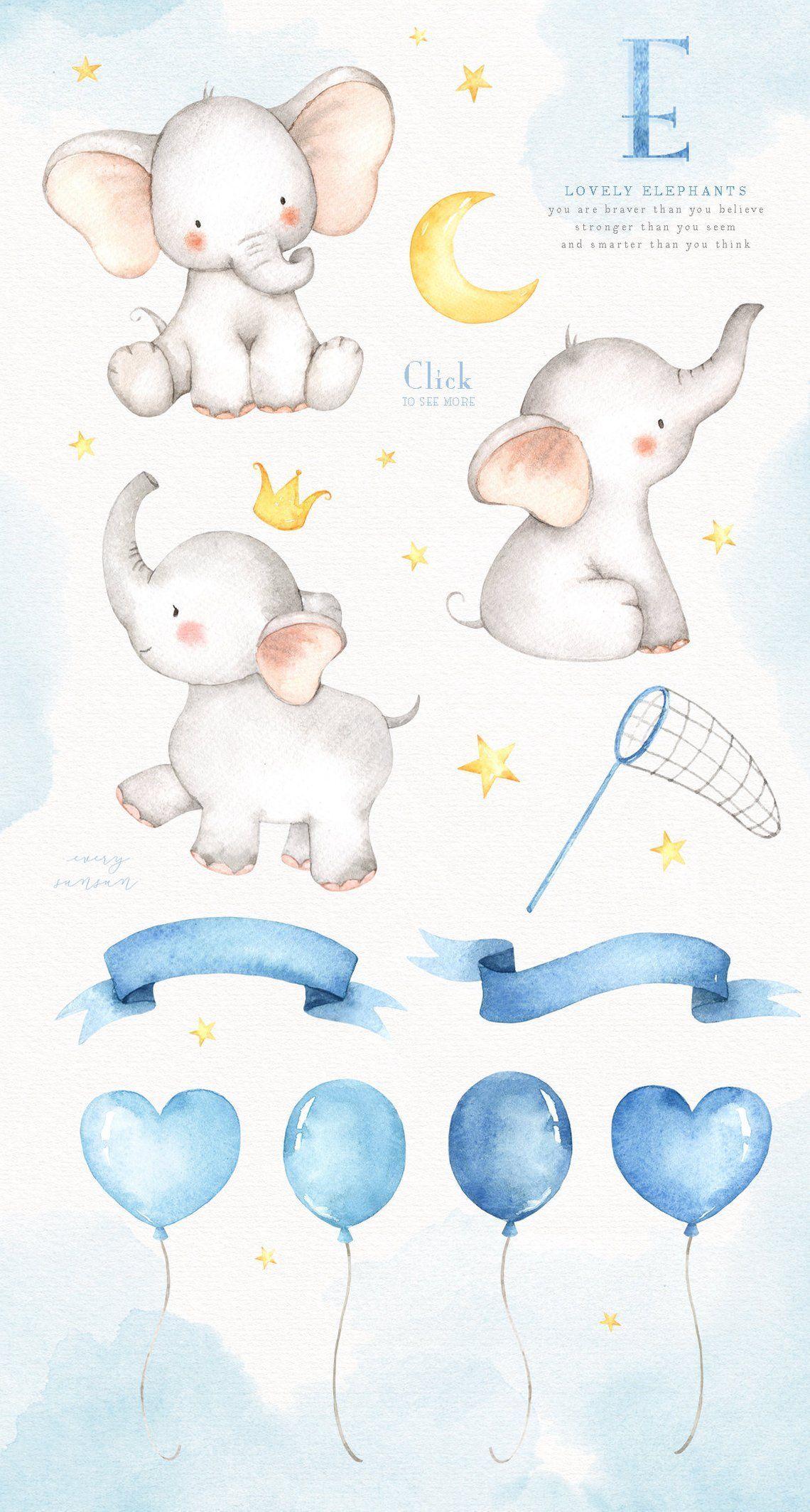 Lovely Elephants Watercolor Clip Art, Elephant Clipart, Moon.