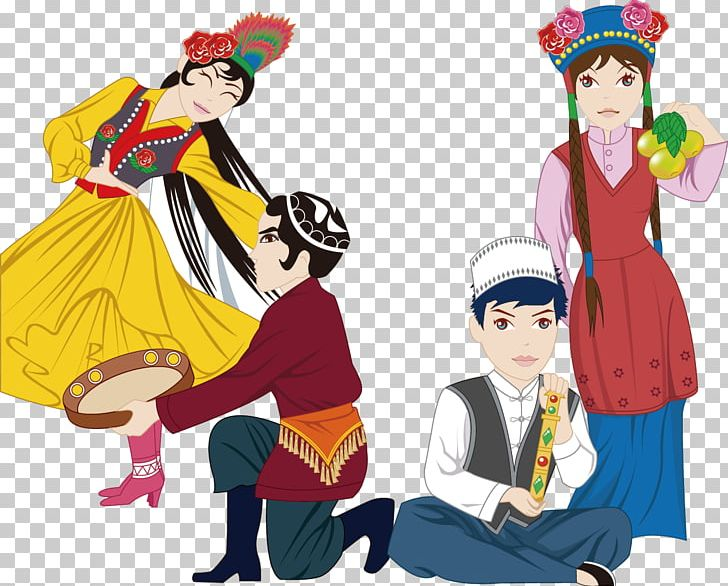 Xinjiang Uyghurs Culture Ethnic Group Folk Costume PNG.