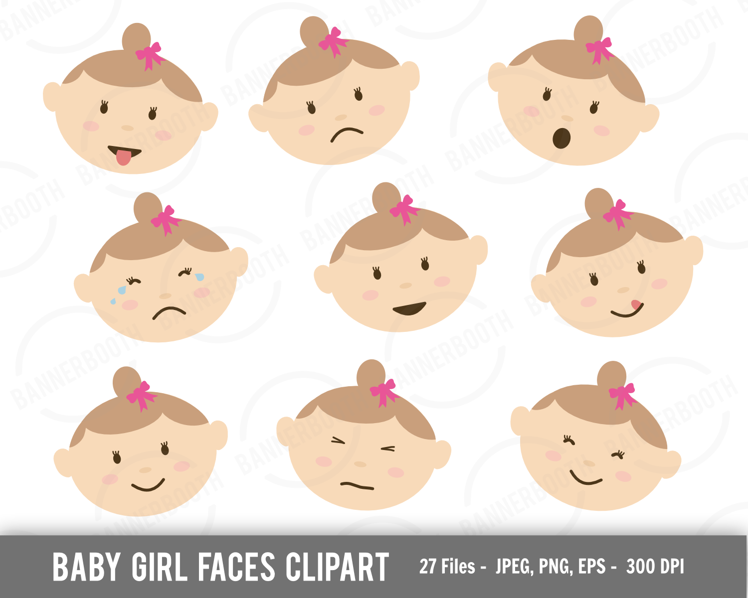 Cute Baby Girl Face Clipart Extended Commercial Use License.