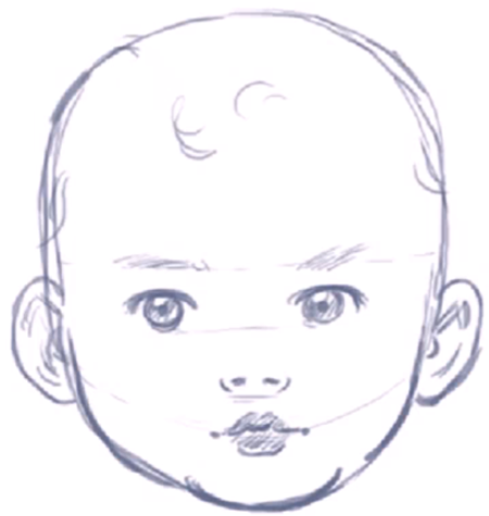 How to Draw a Baby\'s Face / Head with Step by Step Drawing.
