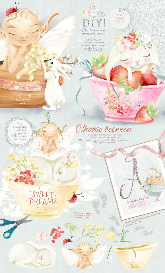 Baby Fairies Clipart Collection.