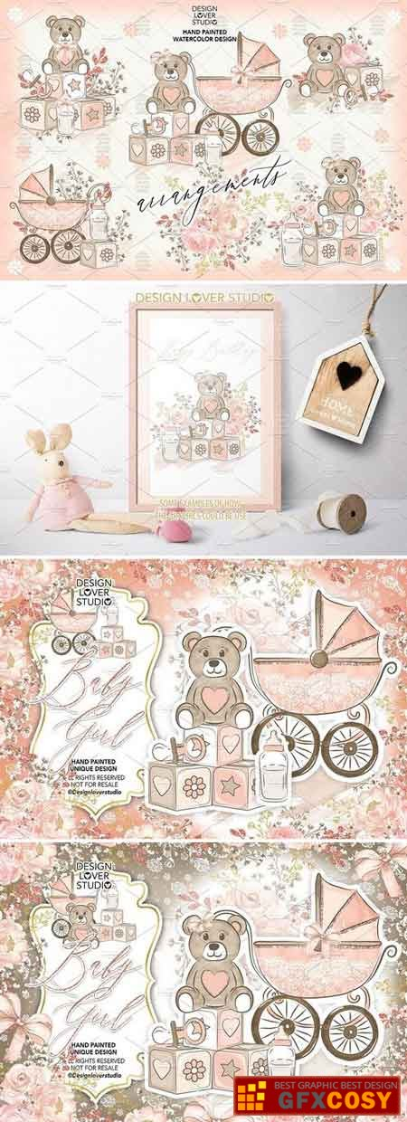 Baby Girl Clipart & Backgrounds Bundle 1730509 » Free.
