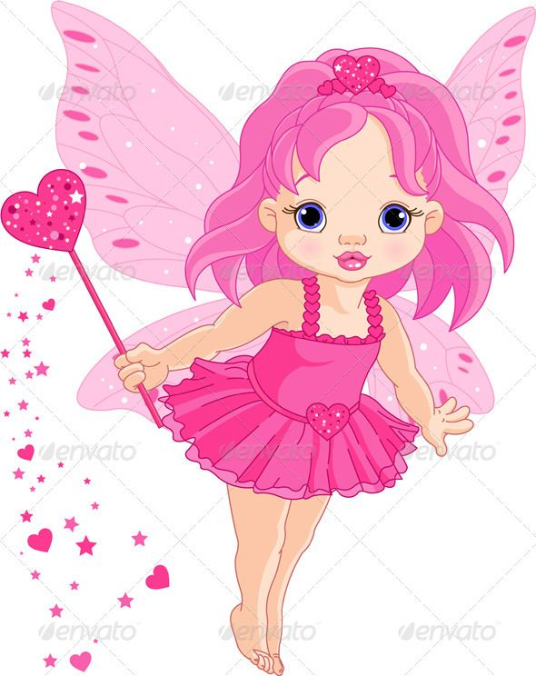 Illustration of Cute little Love baby fairy in fly.