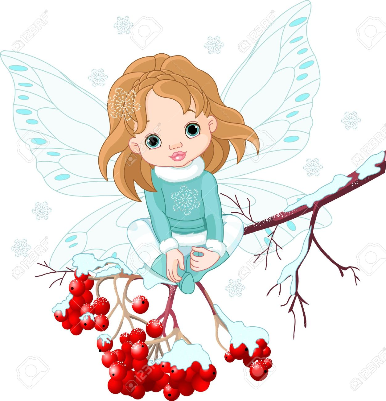 Winter Baby Fairy sitting on Ash Tree Branch.