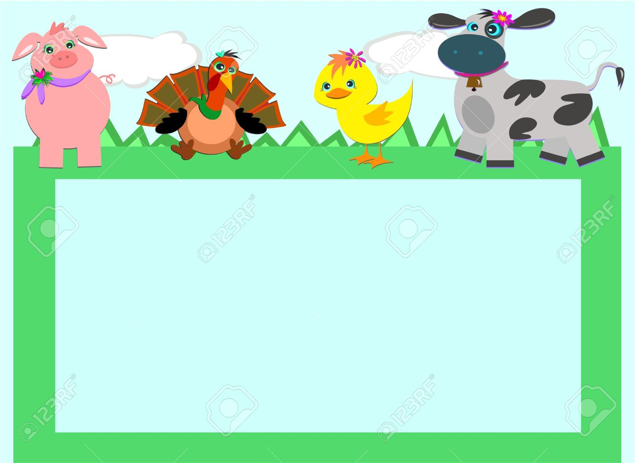 baby farm animal clipart borders #5