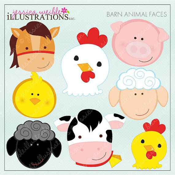Barn Animal Faces Cute Digital Clipart.
