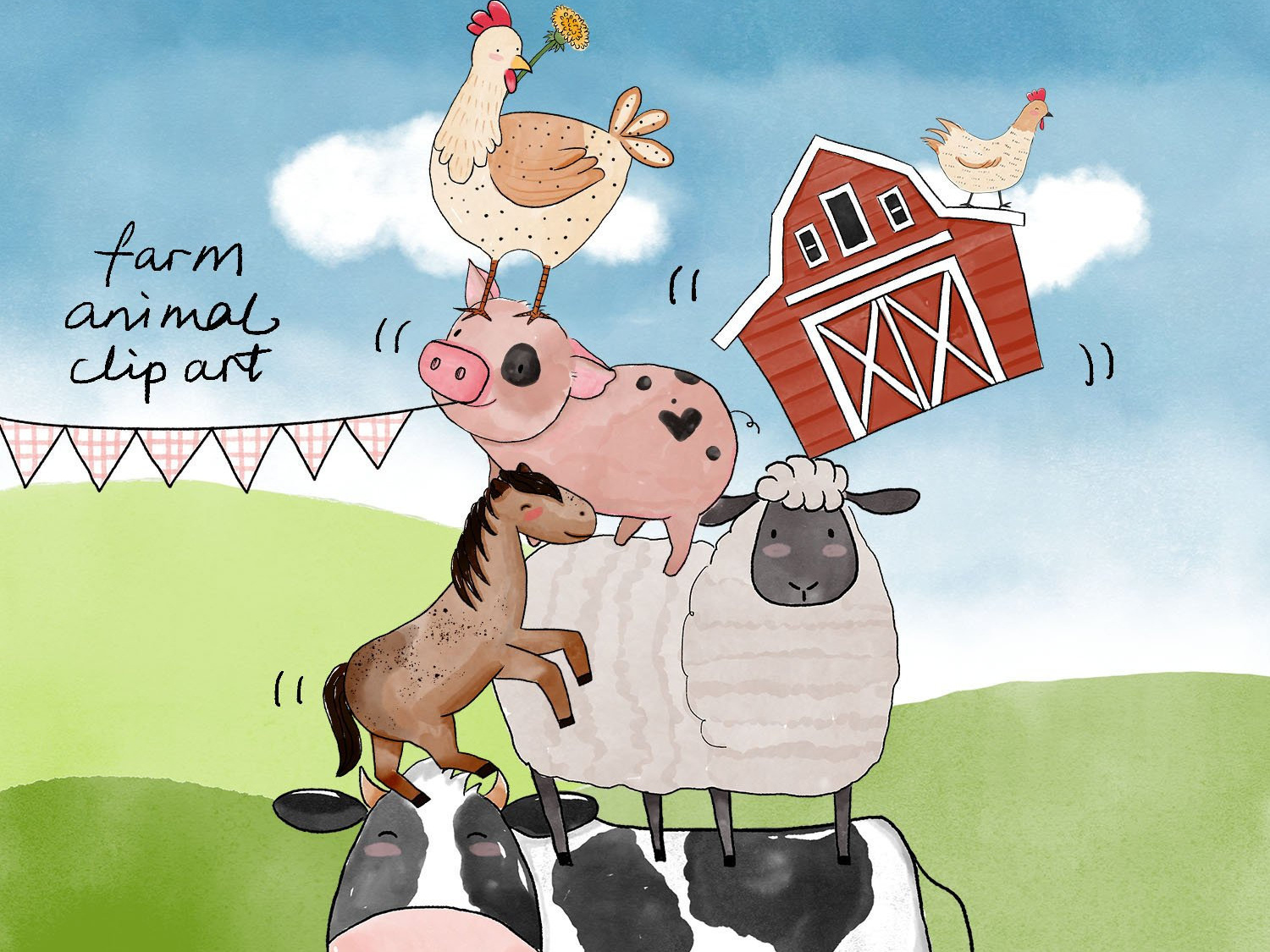 40 Watercolor Farm Animals Baby Shower Clipart PNG Images by.