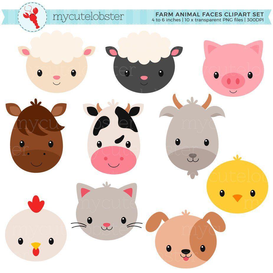 Farm Animal Faces Clipart Set.