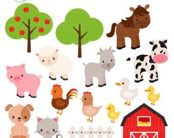 Wild Animal Faces Clipart Set.