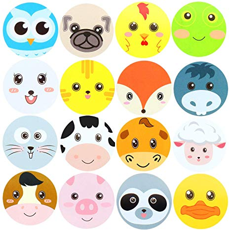 Hsei 500 Pieces Farm Face Animal Stickers Zoo Perforated Stickers Woodland  Friends Animal Roll Stickers for Kids Party Favor Baby Shower.