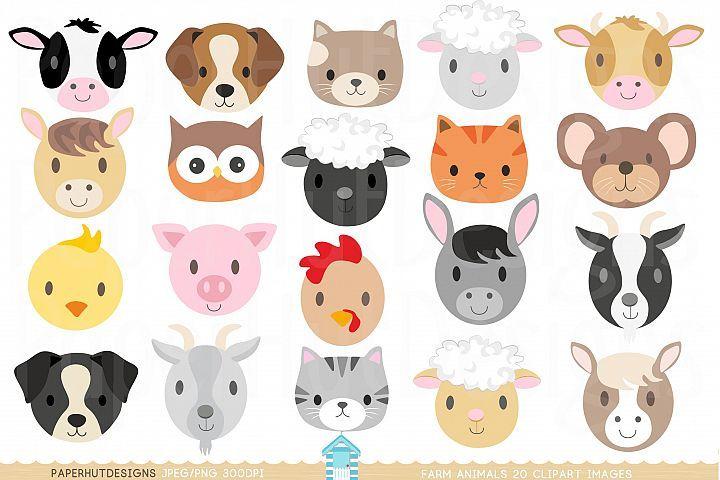 Farm Animal Faces Clipart.