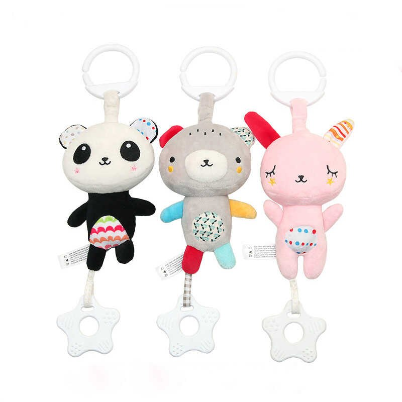 Cartoon Infant Baby Bell Mobile Plush Bed Stroller Holder Kids Crib Bed  Hanging Music Bells With Teether Toys For Children Kids.