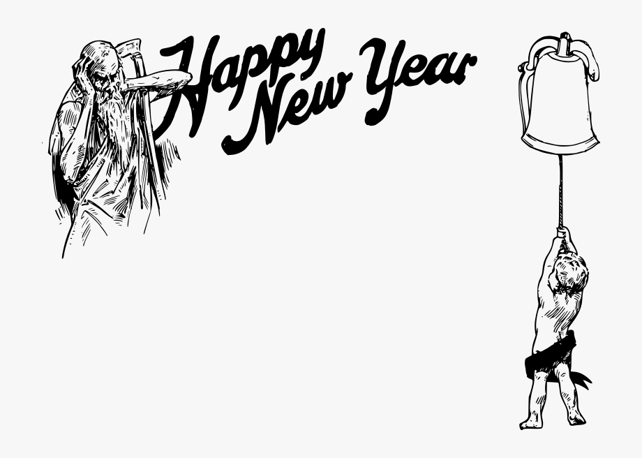 New Year Old Father Time And Baby , Transparent Cartoon.