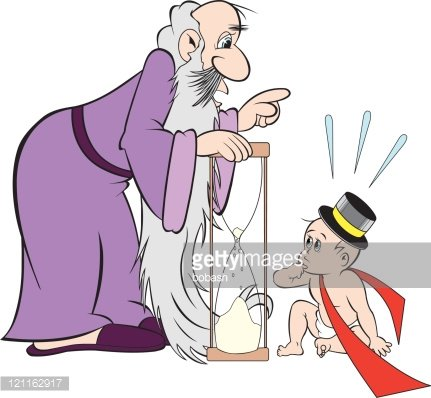 father time talking to new year baby Clipart Image.