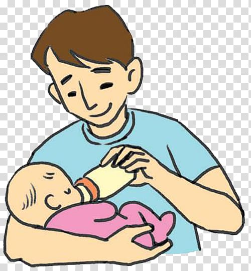 Man feeding baby illustration.