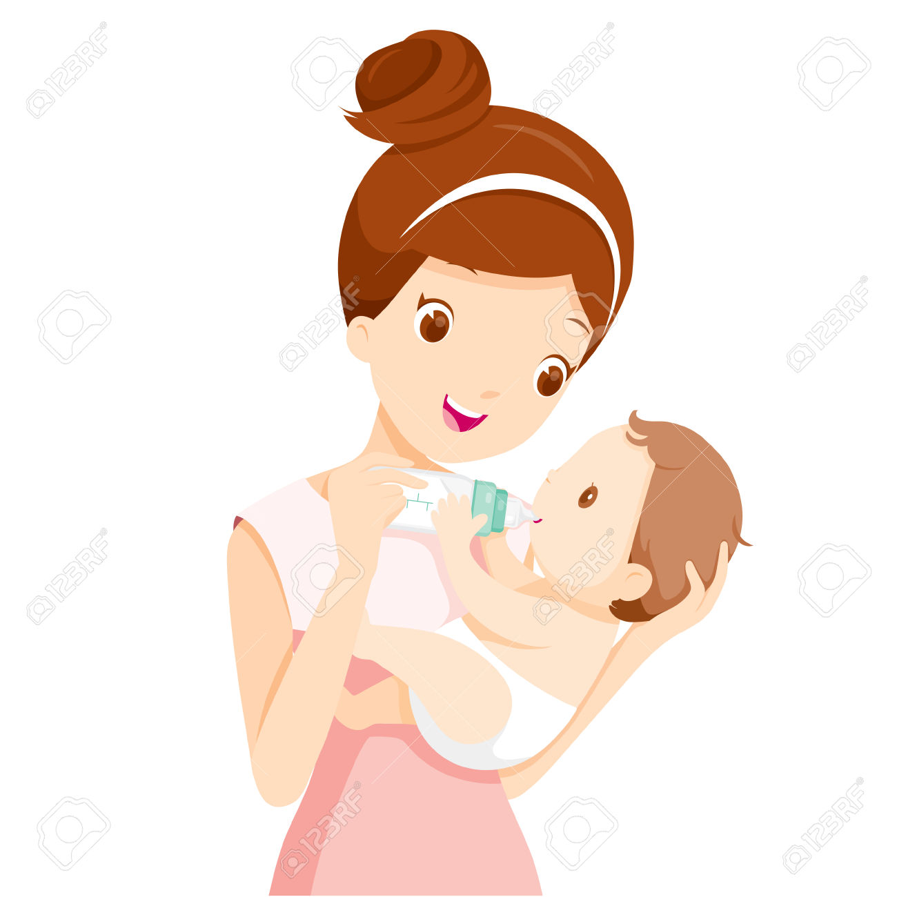 Mother Feeding Baby With Milk In Baby Bottle » Clipart Station.