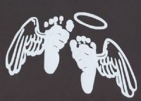 Baby feet with angel wings and halo. I want 2 of them for.