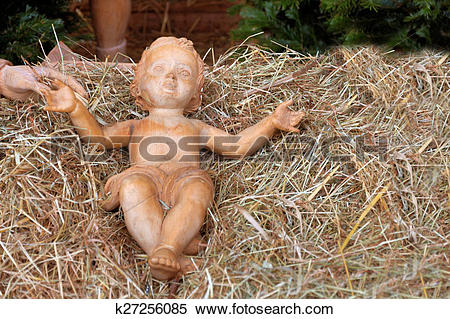 Stock Image of fig baby in the hay k27256085.