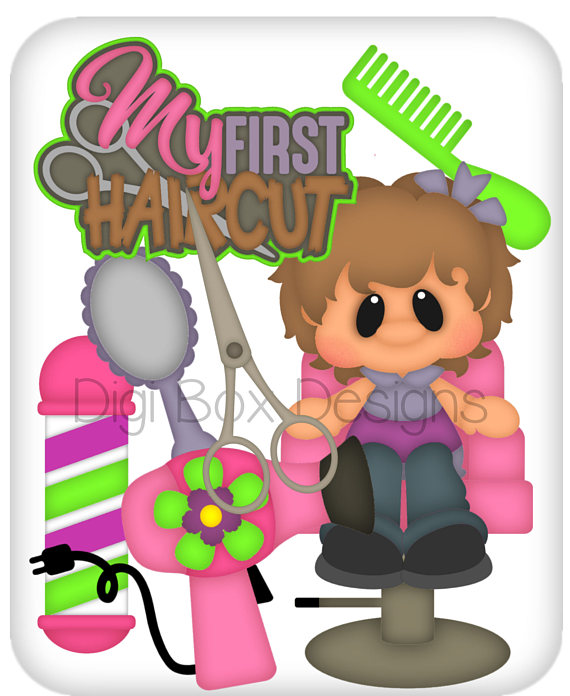 First Haircut Girl vector graphics, digital clipart, digital.