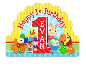 BabyFirst Tv Friends Personalized Happy 1st Birthday Cake Topper.