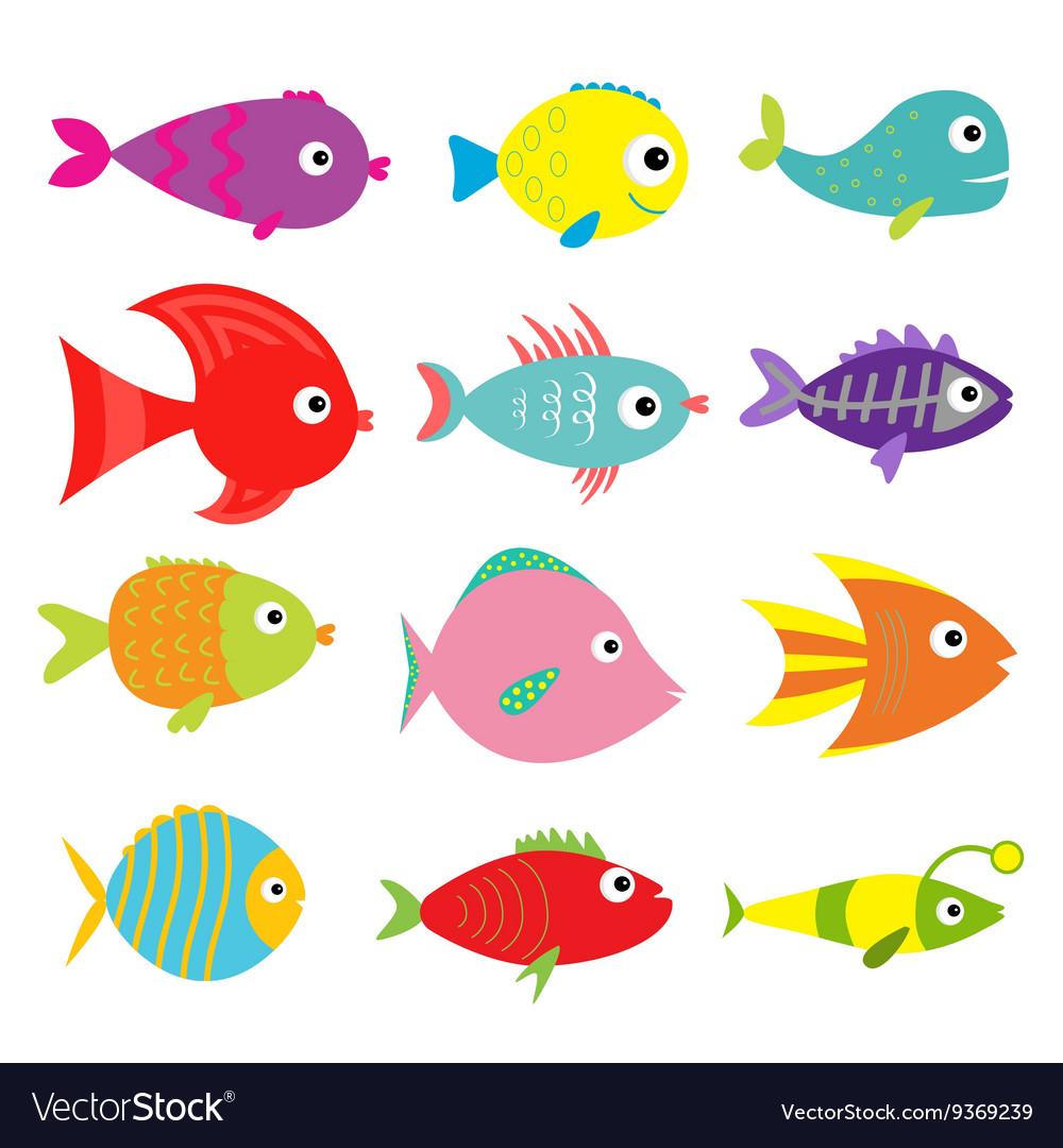 Cute cartoon fish set Isolated Baby kids.