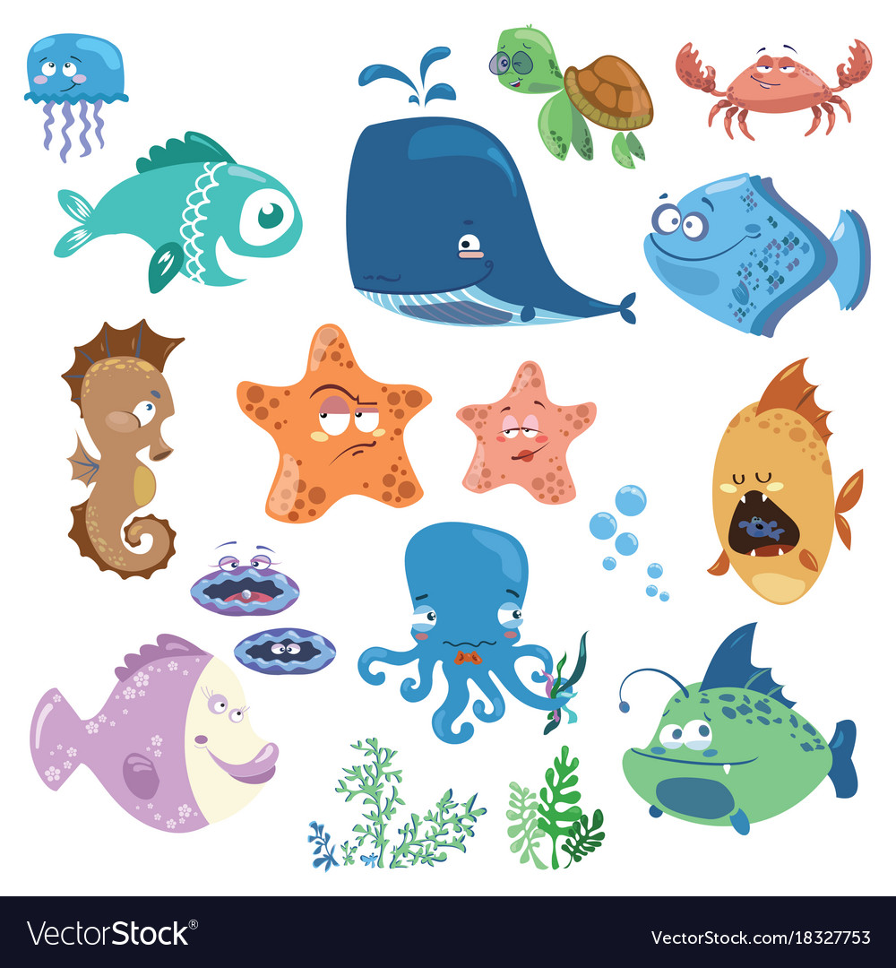 Set of cartoon fish collection of funny baby fish.