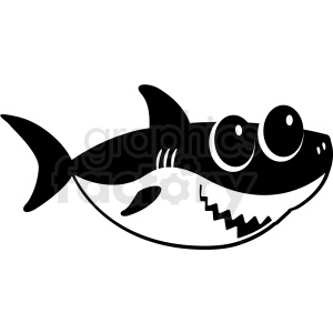 black and white baby shark cut file facing right clipart. Royalty.