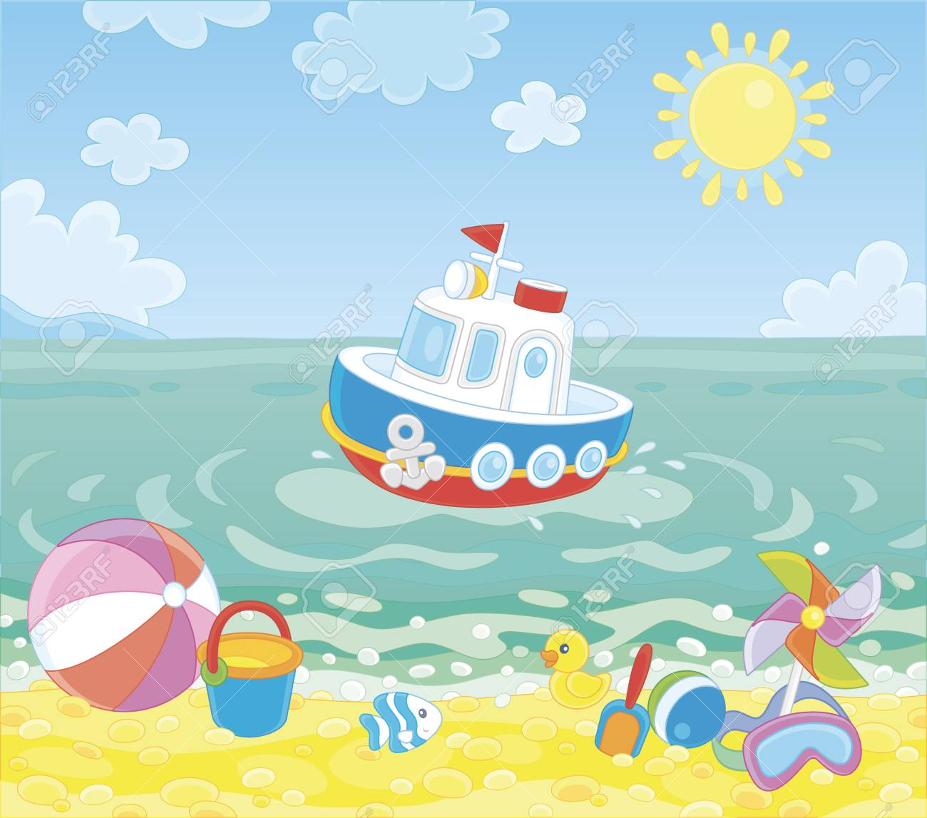 Funny ship floating in blue water and other colorful baby toys...