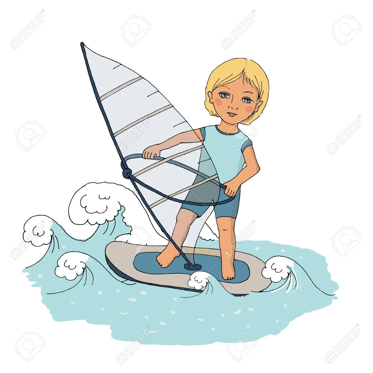Cute baby floating on the waves windsurfing. Cute picture painted...