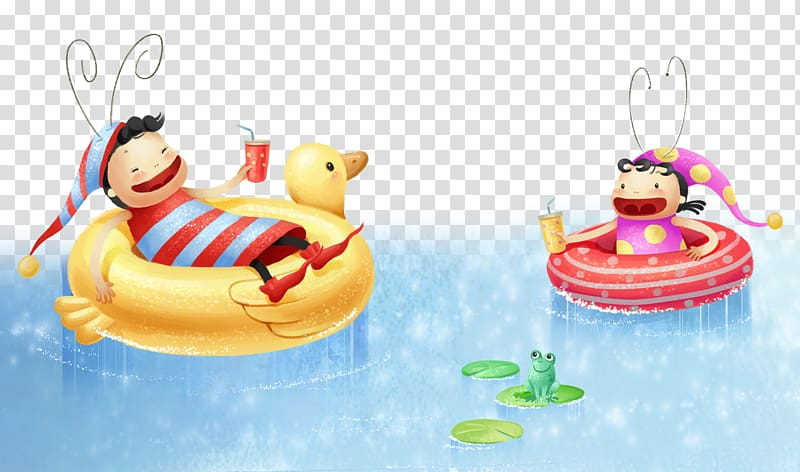 Cartoon Poster Illustration, Floating the cartoon child on.
